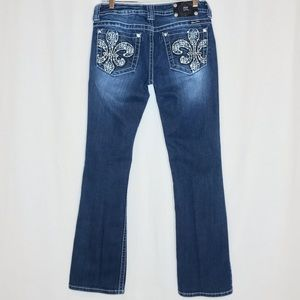 Miss Me Jeans Embroidered Fleur Di Lis Boot 30x33